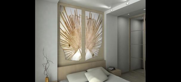 モダンデザインで統一されたベッドルームと海ユリの化石