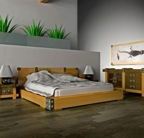 木製の家具で統一されたベッドルームとグリーンリバークロコダイルの化石